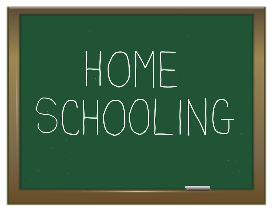 Illustration depicting a green chalk board with a homeschooling concept.