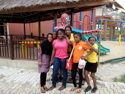 Nishola and Ifeoma pose with the girls